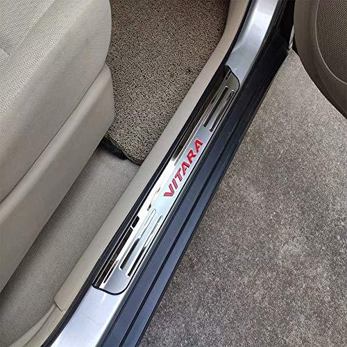 4 Stück Autotürschwellenschutz für Suzuki Vitara 2015-2020, Trim Scuff Pedal Threshold Cover Schutz Trim Zubehör, Edelstahl, red