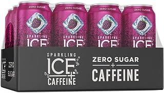 Sparkling Ice +Caffeine Black Raspberry Sparkling Water, with Antioxidants and Vitamins, Zero Sugar, 16 fl oz Cans (Pack o...
