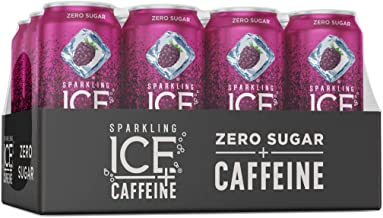 Sparkling Ice +Caffeine Black Raspberry Sparkling Water, with Antioxidants and Vitamins, Zero Sugar, 16 fl oz Cans (Pack of 12)