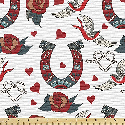 Lunarable Horseshoe Fabric by The Yard, Horseshoe with Rose Swallow Hearts Ropes Foral Ornamental Tattoo Style Art, Decorative Fabric for Upholstery and Home Accents, 1 Yard, Green Red