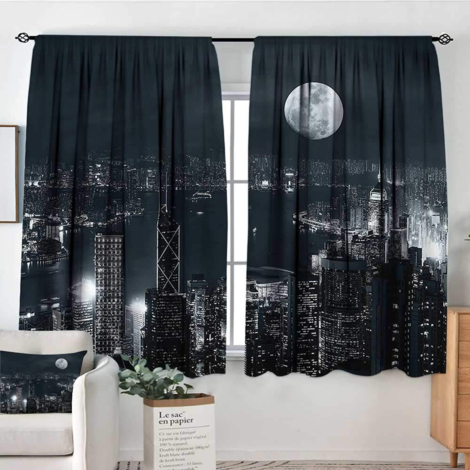 Sanring Modern,Bocking Ight Rod Curtains Hong Kong City at Night View 42 X63  for Baby Bedroom