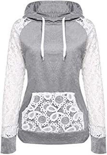 Realdo Womens Patchwork Sweatshirt Lace Splice Color Pullover Hoodie Outerwear