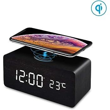 FiBiSonic LED Holz Wecker digital mit Wireless Charger Wecker aus Holz Wecker Design Deko led Uhr Standuhren Klein Vintage Schreibtisch Uhr Schwarz