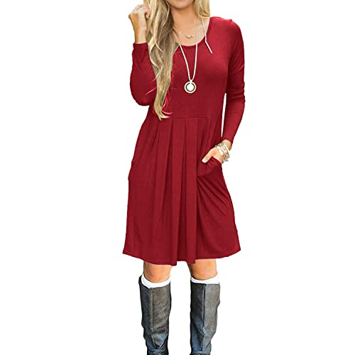 15e1afc6b2 Simier Fariry Women Long Sleeve Pockets Pleated Loose Swing Casual Short T Shirt  Dress