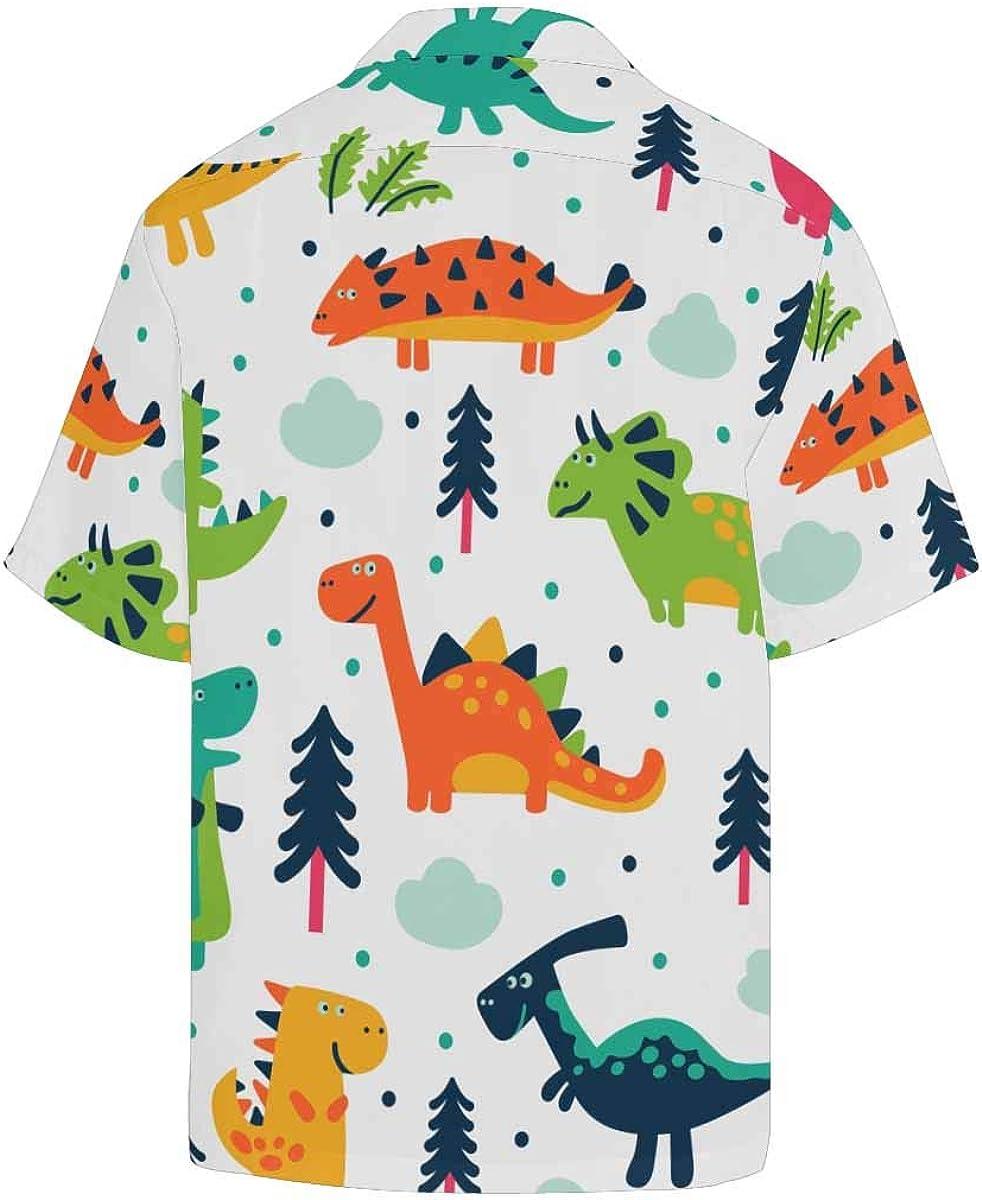 InterestPrint Men's Casual Button Down Short Sleeve Hawaiian Shirt Camouflage Dinosaur (S-5XL)
