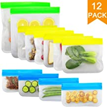 12PCS BelleLibre Reusable Produce Bags Food Storage Bags,Ziplock Sandwich,Freezer,Snack Bags,Premium Washable Fruit,Vegetable and Grocery Bags for Lunch,Picnic and Travel