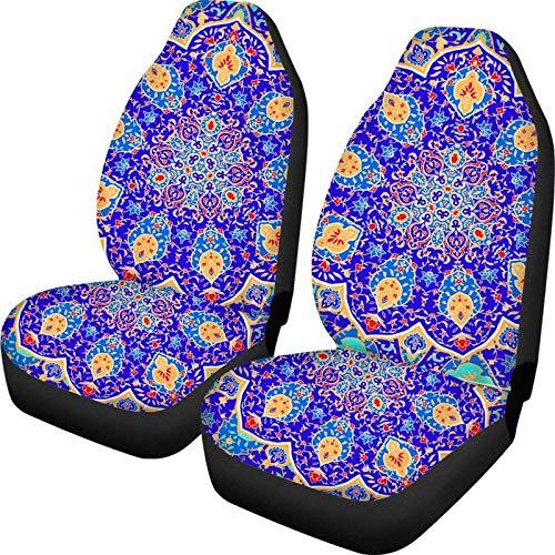 Bernice Winifred Colorido Púrpura Mandala Lotus Design Auto Decoración Interior Fundas de Asiento de Coche Juego de 2 Fundas Protectoras de Asiento de Respaldo Alto y cómodo Suave