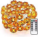 Yansh kürbis Halloween Lichterkette, 3M 30 LED Pumpkin Lichter mit Fernbedienung, Halloween Party...