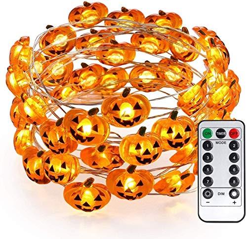 Yansh kürbis Halloween Lichterkette, 3M 30 LED Pumpkin Lichter mit Fernbedienung, Halloween Party Dekoration Außen Innen Lichterkette für Garten Zimmer Fenster (Gelb)