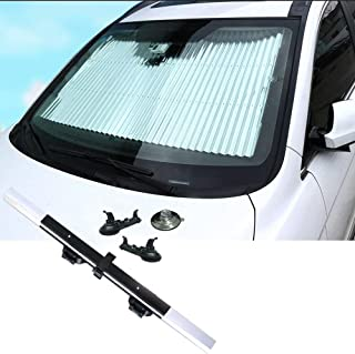 PME Car Front Windshield Sun Shade Front Window Shade UV Ray Reflector Foldable Shield Cover Aluminum Foil Retractable Sunshade Cover for Universal Vehicle Car SUV