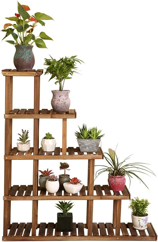 JTWJ Solid Wood Flower Stand MultiLevel Living Room Balcony Floor Assembly Wooden Flower Pot Rack, Size 106  95  25cm