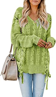 Hestenve Plus Size Womens Lace Up Pullover Sweaters Long Sleeve Cable Knit V Neck Jumper Tops