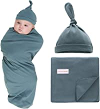 """100% Cotton Knitted Baby Swaddle Blanket with Hat Set, 35""""x35"""", Newborn Swaddle Wrap, Receiving Blankets, Burping Cloth & Stroller Cover, Perfect for Boys Girls (Dark Green)"""
