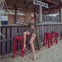 Yifuty レトロウェーブポイント日焼け止めベール水着、ベビードールと夏のクッションコレクション温泉の女性ビーチ、ビーチ、プール、学生服、パーフェクトなギフトガーネットレッド (色 : 緑, サイズ : M)