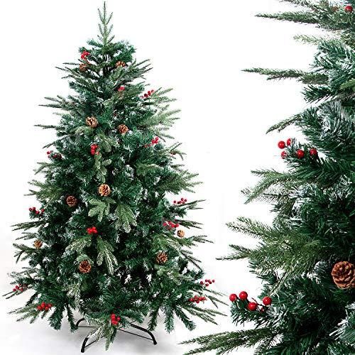 Gotoll Künstlicher Weihnachtsbaum PE/PVC Spritzguss Mix Tannenbaum, Christbaum 150 cm mit 1088 Spitzen, inkl. Metallständer, Natur-Grün Kunsttanne
