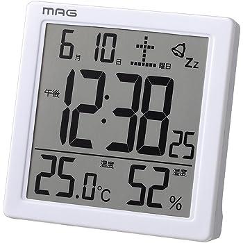 MAG(マグ) 目覚まし時計 非電波 デジタル カッシーニ 温度 湿度 カレンダー表示 ホワイト T-726WH-Z