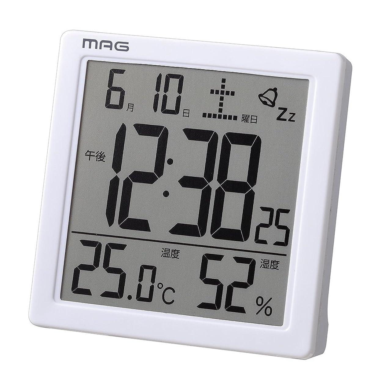 不平を言うコジオスコ光のMAG(マグ) 目覚まし時計 非電波 デジタル カッシーニ 温度 湿度 カレンダー表示 ホワイト T-726WH-Z
