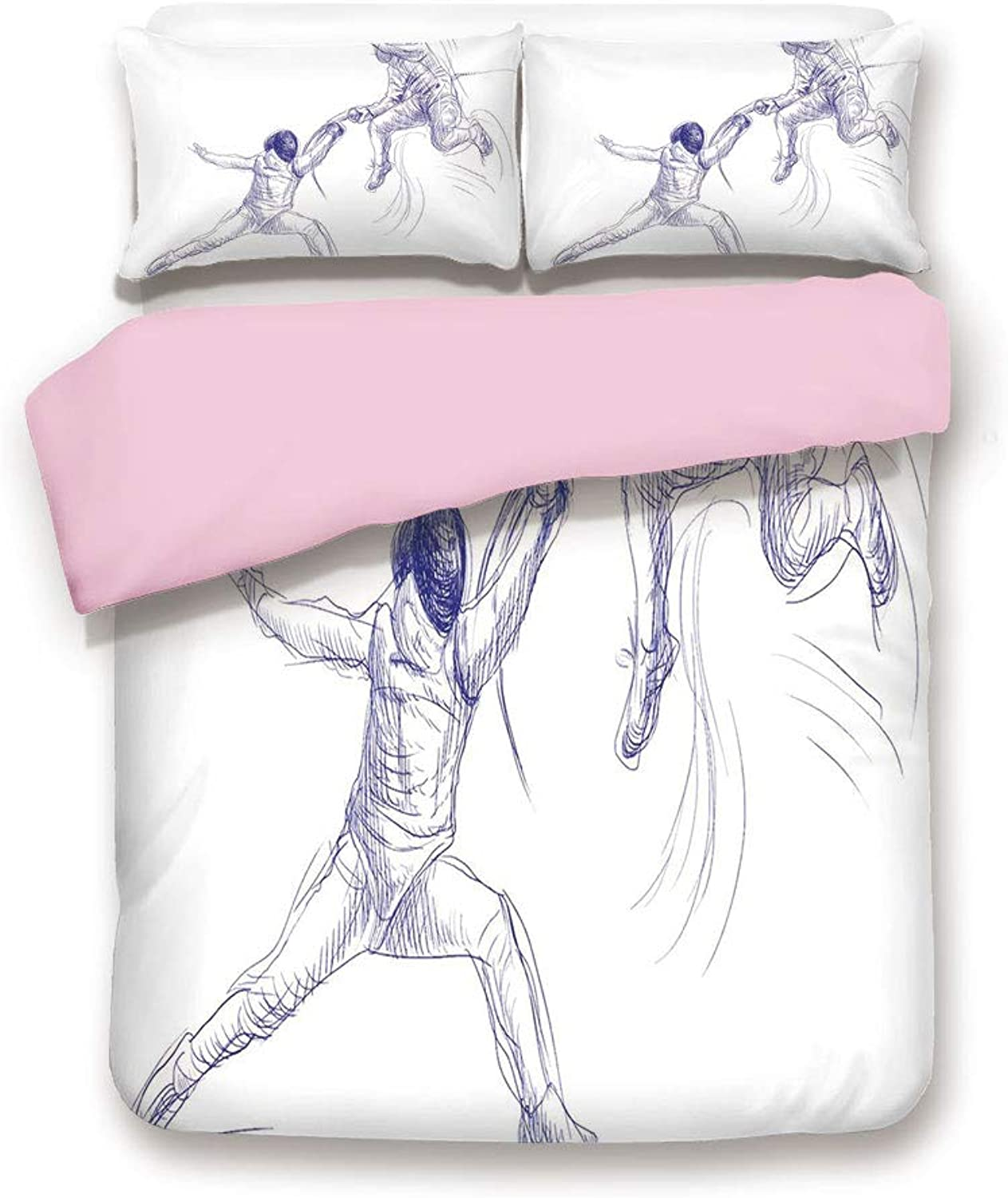 Pink Duvet Cover Set,Queen Size,Sketch of Two Sportsman Fencing Duel Swordplay Agility Attack Action Discipline Decorative,Decorative 3 Piece Bedding Set with 2 Pillow Sham,Best Gift For Girls Women,B