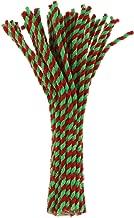 Amosfun 100 piezas de tallos de chenilla a rayas rojas verdes limpiadores de tuberías artesanales para manualidades de bricolaje decoraciones para árboles de navidad adornos 30 cm de largo