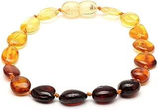 Amber Corner Baltic Amber Adult Knotted Bracelet Unisex ABB145 Polished Rainbow 19cm Round Flat Beads