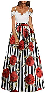 CC-US Women African Rose Floral Maxi Skirt High Waist Pleated Beach Skirts with Pockets