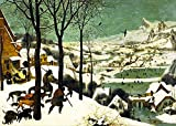 JH Lacrocon Pieter Bruegel Il Vecchio - Cacciatori nella Neve (Inverno) Riproduzioni Quadro Stampa su Tela Arrotolata 120X80 cm - Dipinti Paesaggi Decorazione da Parete