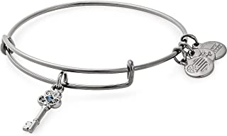 Alex and Ani Women's Key to Wisdom Bangle Midnight Silver Bracelet, Midnight Silver