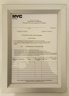 Elevator Inspection Certificate Frame 6