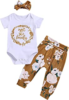 Newborn Baby Girls Isn't She Lovely Outfits Ruffles Bodysuit Tops Floral Pant Headband 3Pcs Fall Clothes Set