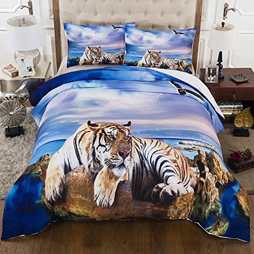 HGKY 3D Animals Tiger Duvet Quilt Cover with Pillowcases,Giant Tiger Sitting on Beach Rock Ocean Blue Duvet Cover Set,100% Microfiber,for Children Adults (King Size)