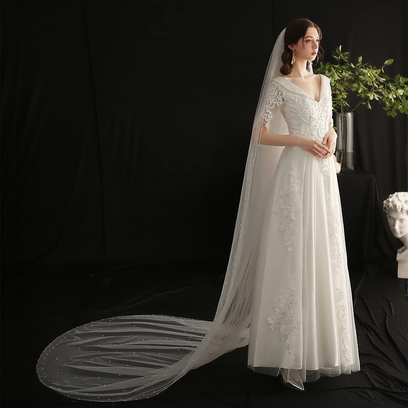 JZJZ Wedding Bridal Veil Max 84% OFF with Comb Tulle Excellence Hair Edge Tier Pearl 1