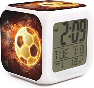 HONGMING Cool Fire Flame Soccer Football LED Alarm Clock 7 Colors Desk Gadget Alarm Digital Thermometer Night Cube Bright Home Decor