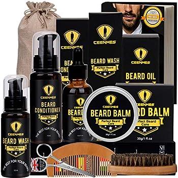 Ceenwes Upgraded Beard Grooming Kit with Beard Conditioner ,Beard Oil Beard Brush Beard Comb Beard Balm Beard Shampoo Beard & Mustache Scissors Storage Bag Beard Growth & Trimming Kit