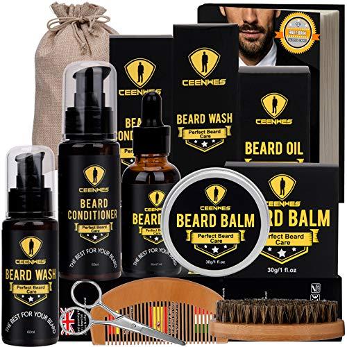 Ceenwes Upgraded Beard Grooming Kit with Beard Conditioner ,Beard Oil, Beard Brush, Beard Comb, Beard Balm, Beard Shampoo, Beard & Mustache Scissors Storage Bag, Beard Growth & Trimming Kit