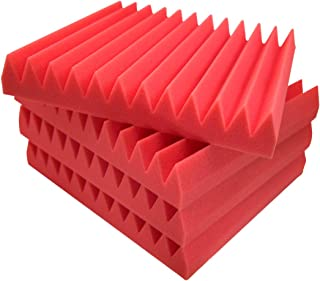 "Red 12 PACK Acoustic Foam Panels 2""x12""x12""– Acoustic Panels, Sound Proof Padding, Sound Proof Foam Panels, Soundproofing Foam Panel, Studio Foam, Soundproof Foam, Acoustic Panel, Sound Foam Wedges"