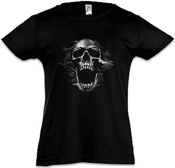 Urban Backwoods Screaming Skull I Camiseta para Niñas Chicas niños T-Shirt Black