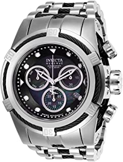 Reserve Bolt Zeus Stainless Steel/Black Band Metal/Mother of Pearl/Oyster Black Dial Quartz Men's Watch 26188