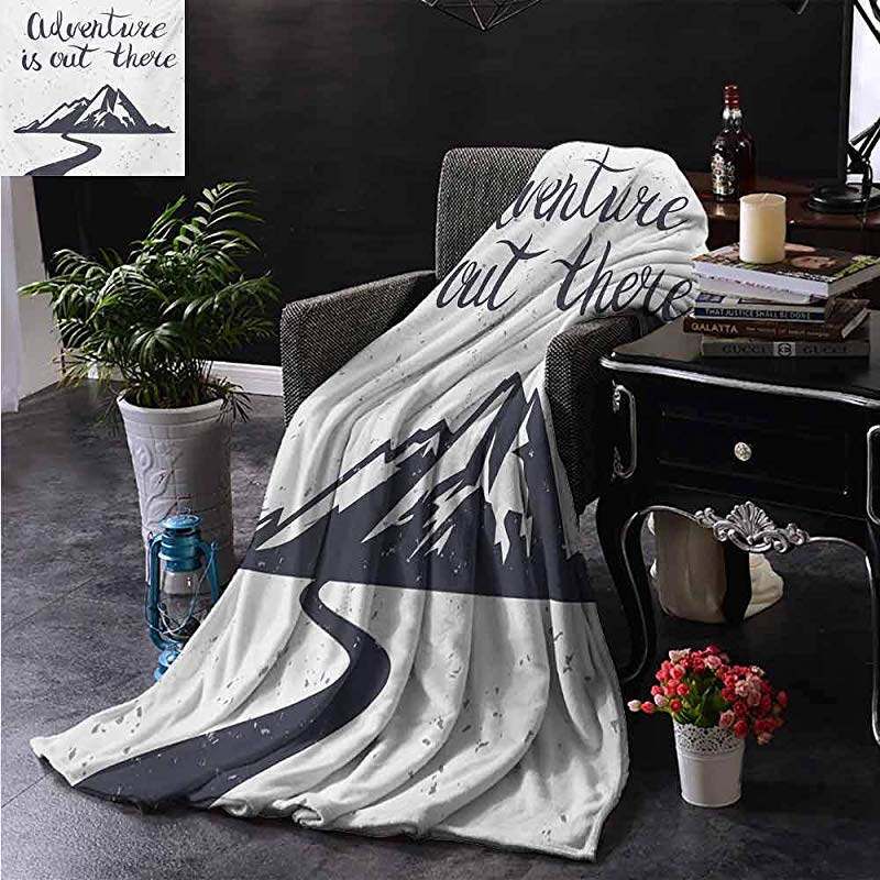 ZSUO Warm Baby Wrapped Crib Blanket Monochrome Mountain Road Exploration Quote Adventure Is Out There All Season Light Weight Living Room Bedroom 70 X90 Inch
