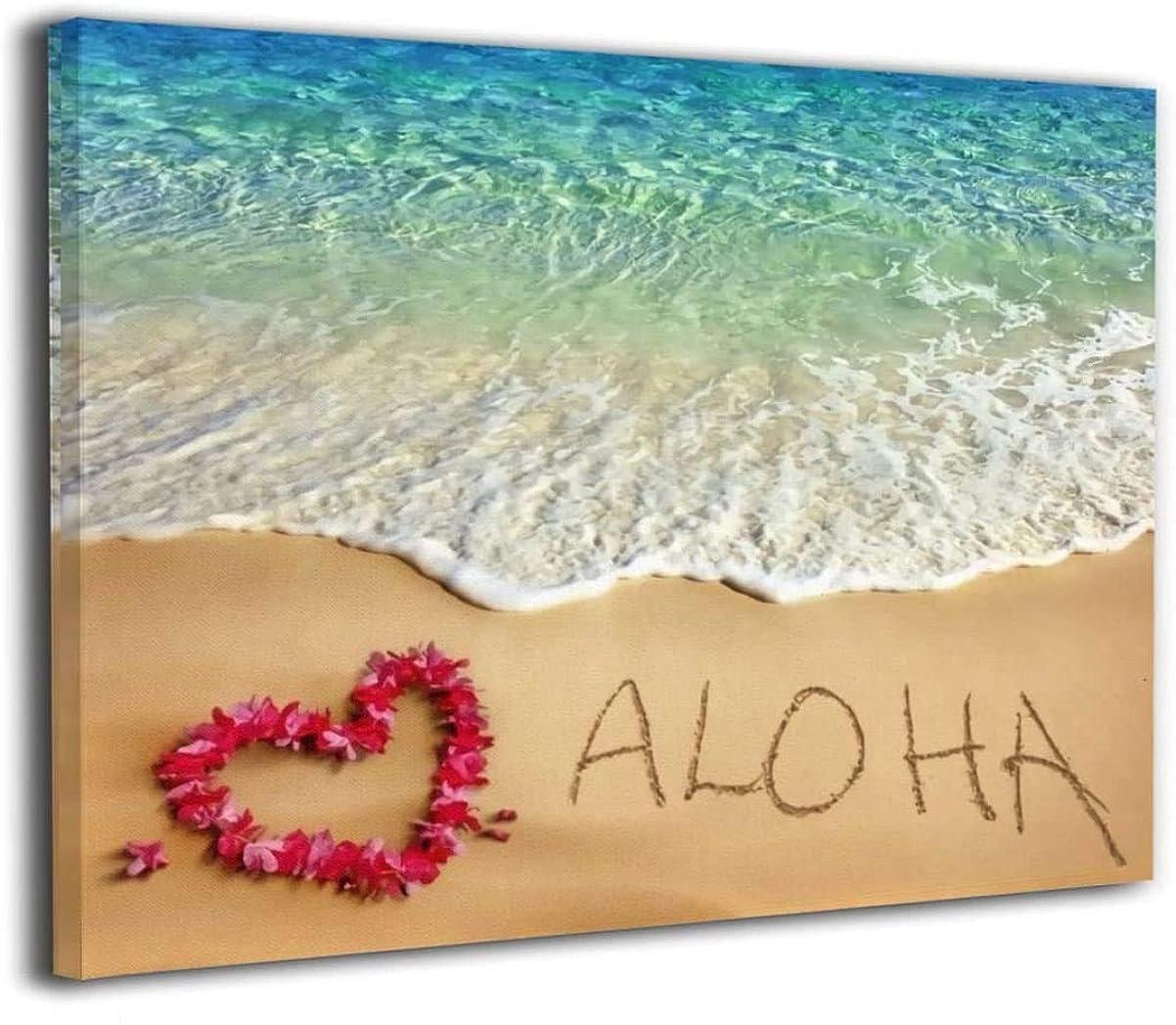 サンダース寛容なこねる油絵 ハワイ 海 サマー 装飾画 油画 現代絵画 モダンアート ウォールアート キャンバス寝室の装飾風景 インテリアアート 壁の絵 飾塗装 絵画部屋飾り 壁アート キャンバスアート 40x50cm(フレームレス)