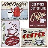 TIE-DailyNec 4 Piezas de Carteles de Chapa de café Vintage, Cartel de Metal de café, decoración de Pared Retro para cafetería, Bar, decoración de Pared, 20 x 30 cm
