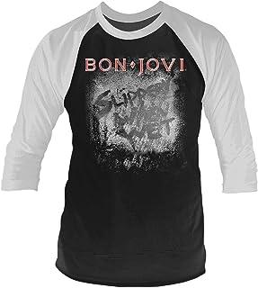 Bon Jovi T Shirt Slippery When Wet 新しい 公式 メンズ Baseball 3/4 Sleeve