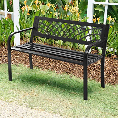 Patio Park Garden Bench Outdoor Metal Benches,400 lbs Cast Iron Steel Frame Chair w/PVC Mesh Pattern - for Park Yard Front Porch Path Yard Lawn Decor Deck Furniture,Black