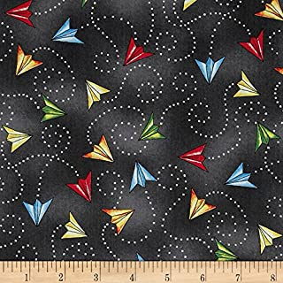 Wilmington Prints 0493813 Ready for Takeoff Paper Planes Dark Gray Fabric by The Yard