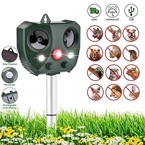 Sararoom Katzenschreck Ultraschall Solar, Ultraschall Abwehr mit Solarbetrieb Hundeschreck Marderschreck wasserdichte mit 5 Modus Einstellbar Katzen Schreck für Katzen, Hunde, Schädlinge, Rotwild