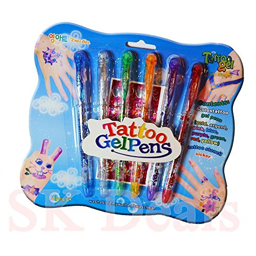DPNY Kids Gel Tattoo Pens Safe Fun Craft Decoration Glitter Pens Set for Kids Fun