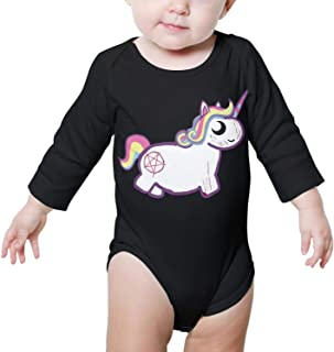 Rainbow Hail Satan Unicorn Cross Long Sleeve Organic Cotton Baby Onesies Bodysuits Cotton 100/% for Newborn Infant