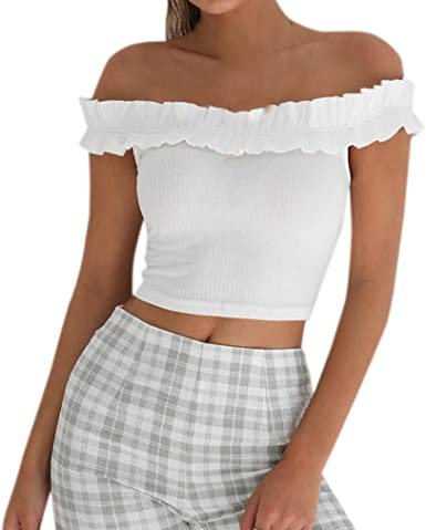 Crop Top Mujer Cuello Barco Manga Corta Blusa Camisetas Moda ...