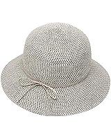 Krono Krown Women's Summer Straw Cloche Bucket Beach Sun Hat w/Suede Bow - Paper Straw, Adjustable, UPF50+ (Multi-Grey)