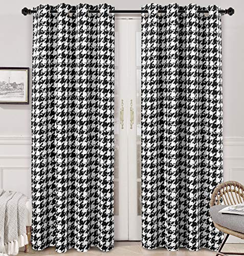 DriftAway Houndstooth Vintage Plaid Printed Pattern Energy Saving Thermal Insulated Blackout Window Curtain Grommet 2 Layers 2 Panels 52 Inch by 84 Inch Black