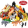 Animals Figure,54 Piece Mini Jungle Animals Toys Set,ValeforToy Realistic Wild Vinyl Plastic Animal Learning Party Favors Toys For Boys Girls Kids Toddlers Forest Small Animals Playset Cupcake Topper from ValeforToy